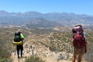 Looking down at Cajon Pass and beyond at the San Gabriel Mts.,