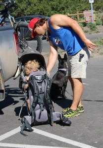 Hiking with Meade, his friend Marshall, and Marshall's kid Hudson.